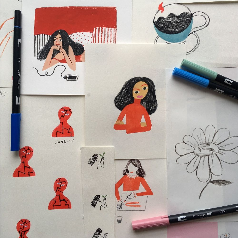 How to turn a bad day into a good drawing by Maria-Ines Gul. - Tombow